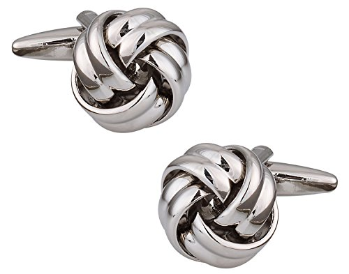Cuff-Daddy Mens Fashion Silver Knot Cufflinks For Wedding with Presentation Box