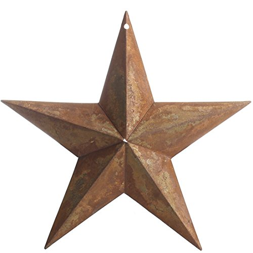 (Group of 4 Rusty Tin Dimensional Barn Stars with Hole At Top for Hanging and Displaying)