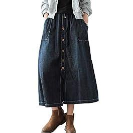 Women's Casual Elastic Waist Midi Long Denim Skirt with Pockets