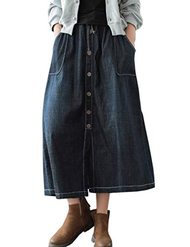 Flygo Women's Casual Elastic Waist Button Front A-Line Midi Long Denim Skirt Front Slit Pockets (One Size, Blue)