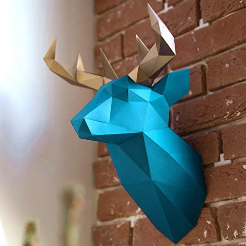 Live Origami Deer Head Mount, 3D Head Wall Decor, Cardboard Deer Taxidermy, Fake Stag Animal Trophy Decor, DIY Papercraft Kit Pre-Cut & Pre-Folded