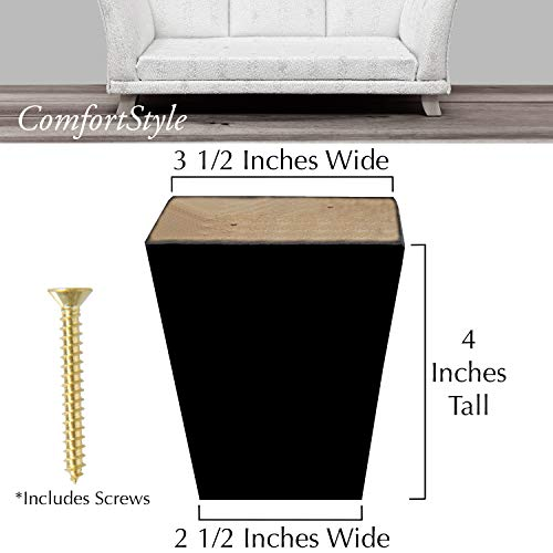"""ComfortStyle Legs for Furniture, Sofa Ottoman and Chair 4"""" Wood Feet Replacement, Set of 4 Square Tapered Pyramid Feet (Dark Espresso)"""