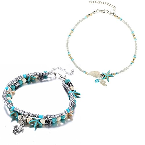 ISAACSONG.DESIGN Bohemian Turtle Starfish Turquoise Pearl Shell Beads Multilayer Retro Adjustable Sandal Beach Summer Anklet Bracelet for Women