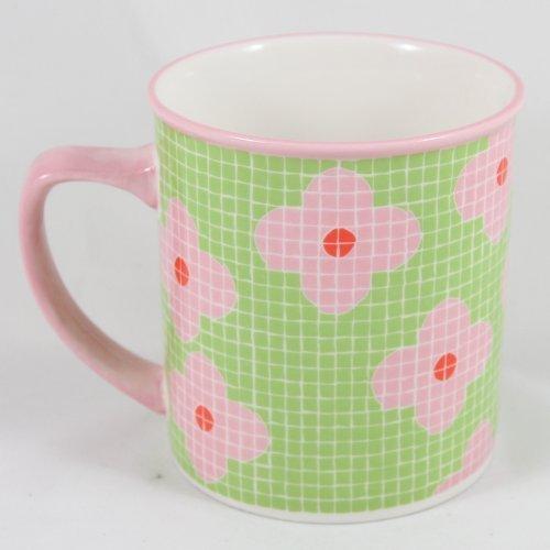 Starbucks Barista Coffee 2004 Pink Green Tile Print Mug 16 fl. oz.