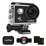 LeadEdge LE5000 Action Camera Ultra HD 4K/30FPS 1080P/60FPS 720P/120FPS 16MP WiFi Waterproof DV Sports Video Cameras Underwater Cam 2.4G Remote Control/Diving 30M/170 Degrees/2PCS 1050mAh Batteries