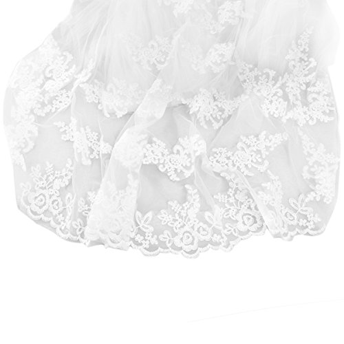 ROSENICE Bridal Wedding Veil Mantilla with Comb Embroidery Lace Edge 260CM (White) - Embroidery Veil