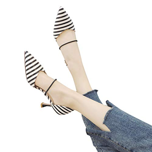 Todaies Women's Wild Pointed Sandals Wave-Dot Striped Hollow High Heels Single Shoes Black