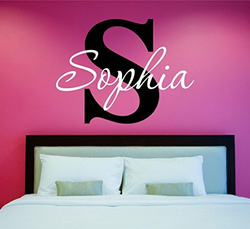 Girls Custom Name and Initial Wall Decal Sticker, 28