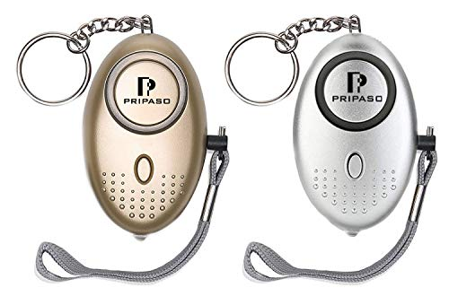 Cheap 2 Pack Emergency Personal Security Safety Alarms Self-Defense Electronic Device 130DB Decibels with Pripaso LED Flashlight for Women, Elderly, Rape, Jogger, Student, as a Bag Decoration