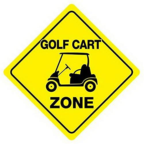 Weytff Golf Cart Zone Crossing Road Sign Funny Metal Sign Good for Indoor and Outdoor Display 12X12 Inches