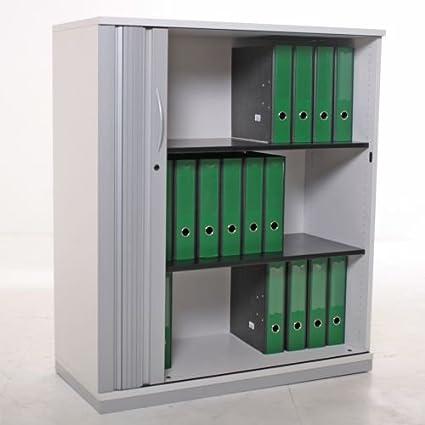 Aparador 3OH, 116 x 100 cm, luz gris/plata/madera, láminas Puerta Corredera, base de metal: Amazon.es: Oficina y papelería