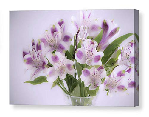 (Peruvian Lily Photography on CANVAS White and Red-violet Alstroemeria Bouquet Floral Print Flower Photo Botanical Print Dreamy Bedroom Art Ready to Hang 8x10 8x12 11x14 12x18 16x20 16x24 20x30 24x36)