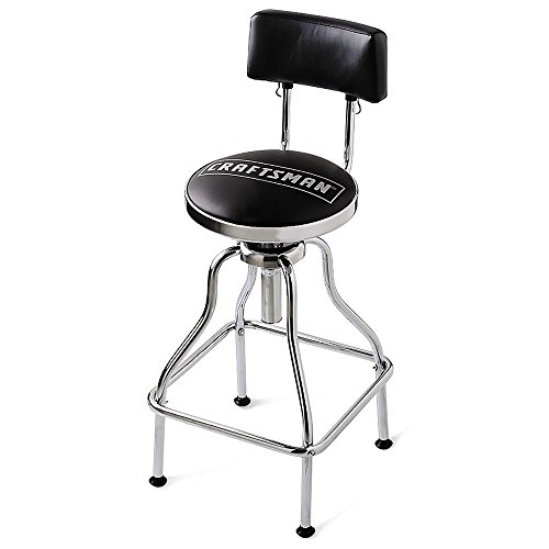 Craftsman Chrome and Vinyl Hydraulic Stool - Comfortable Swiveling Barstool for Home Bar Shop or Garage (Black) (Vinyl Bar Padded Stools)