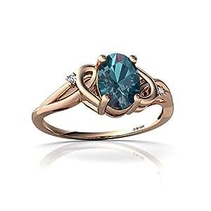 14kt Rose Gold Lab Alexandrite and Diamond 7x5mm Oval Swirls Ring - Size 4