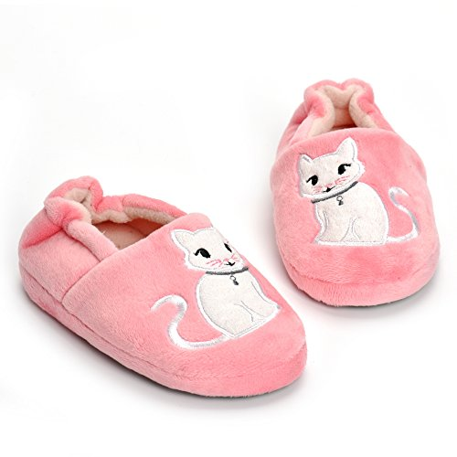 Toddler Girls Cat Slippers Cartoon Cute Animals Plush Warm Shoes Pink ()