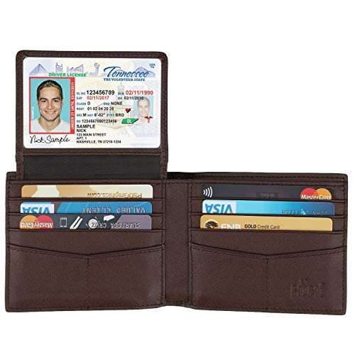 - Wallet for Men-Genuine Leather RFID Blocking Bifold Stylish Wallet With 2 ID Window (Cross Brown)