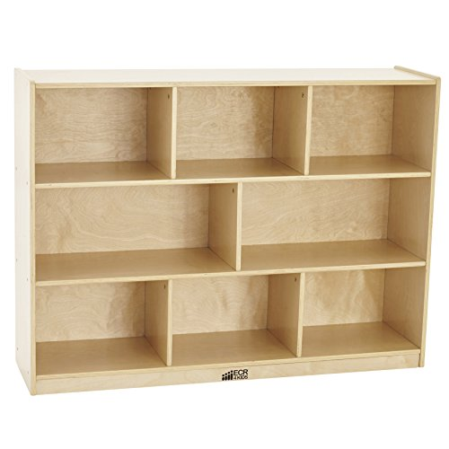 - ECR4Kids Birch 8-Section School Classroom Storage Cabinet with Casters, Natural, 36