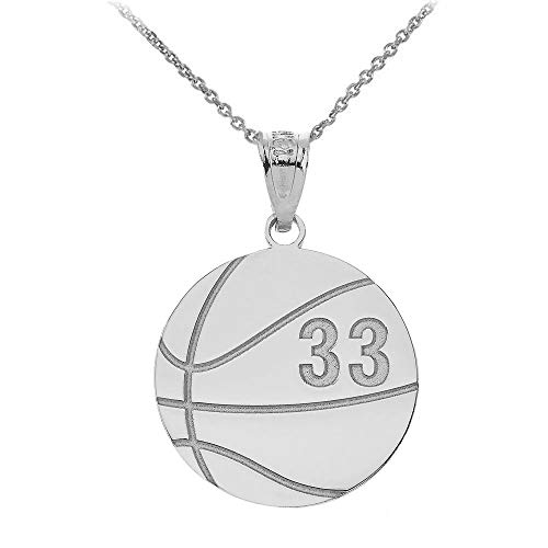 (925 Sterling Silver Basketball Sport Charm Personalized with Name and Number, 20