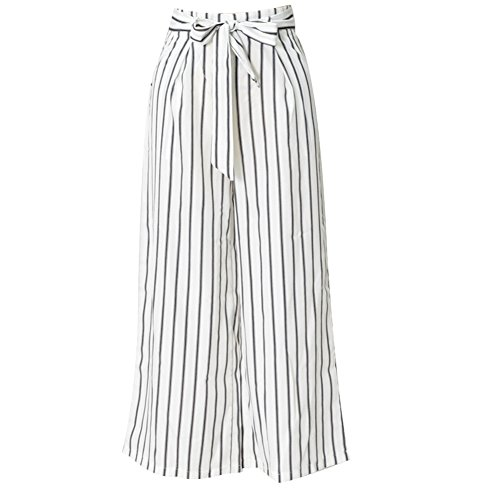 New Women Wide Leg High Waist Casual Crop Pants Striped Loose Trousers Bandage