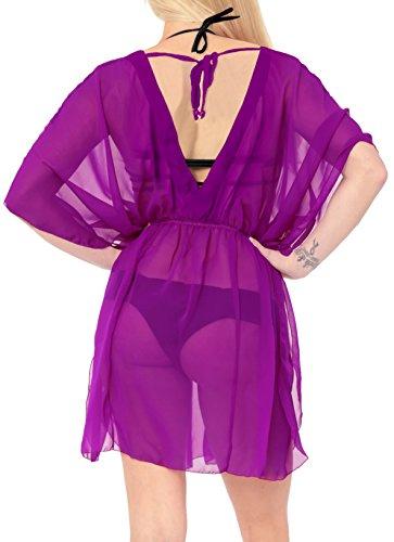 casuale donne spiaggia costume da k761 bagno bikini top Viola estate camicetta dello LEELA swimwear del coprirsi LA delle fvHZq4w