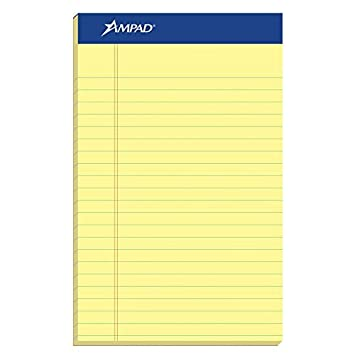 amazon ampad perforated pad size 5 x 8 canary yellow paper jr