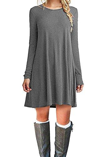 (Viishow Womens Casual Loose Fit Long Sleeve T Shirt Dress Basic Midi Tunic Dress Grey L)