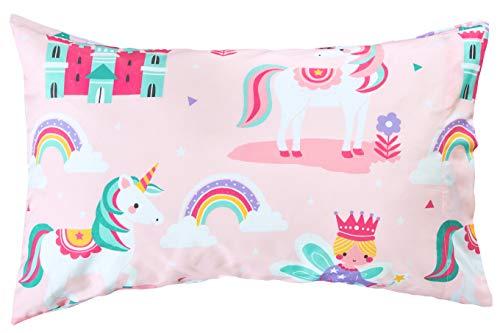 Bloomsbury Mill - 4 Piece Toddler Comforter Set - Magic Unicorn, Fairy Princess & Enchanted Castle - Pink - Kids Bedding Set 4