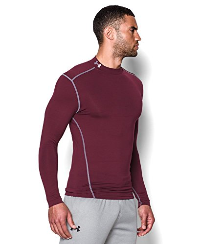 Under Armour Men's ColdGear Armour Compression Mock Long Sleeve Shirt, Maroon /Steel, XXX-Large by Under Armour (Image #2)