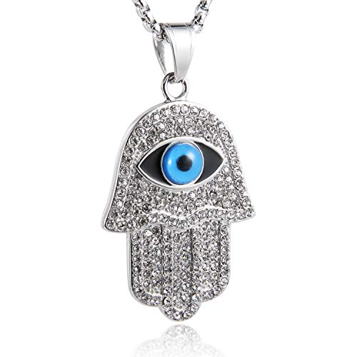 Eye Hamsa Necklace - HZMAN 18k Gold Plated Iced Out CZ Stainless Steel Blue Evil Eye Beads Fatima Hamsa Hand Pendant Necklace (Silver)
