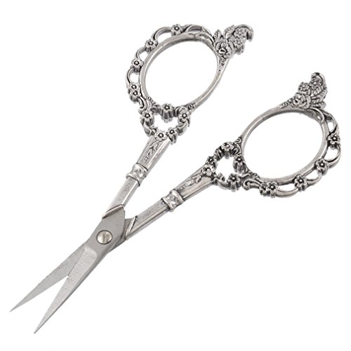 (Souarts Antique Silver Color Vintage European Style Classic Precision Straight Sewing Scissors)