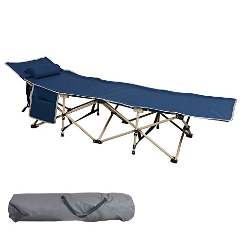 Lucky Tree Comfortable Camping Cot with Side Storage Bag Foldable Camp Cot Folding Sleeping Bed Cots for Adults with Carry Bag and Pillow