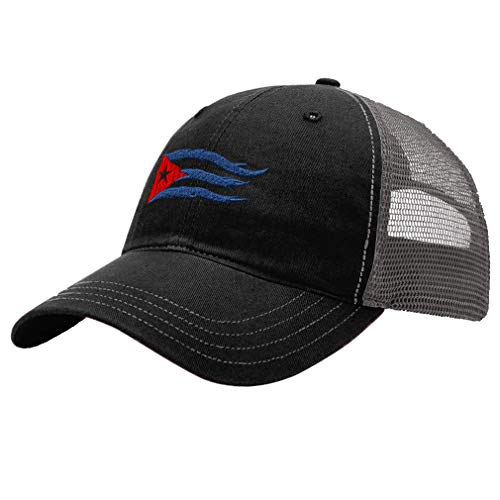 Trucker Hat Richardson Cuba Cuban Flag Flame Embroidery City Name Cotton Soft Mesh Cap Snaps - Black/Charcoal, Design ()