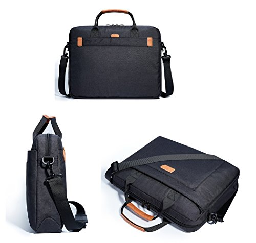 KALIDI, Sacoche étanche pour ordinateur portable avec poignées et bandoulière 15,6″ Noir