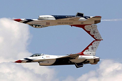 LAMINATED 36x24 Poster: Jets Air Show Aerial Demonstration Military Thunderbirds Mirror Air Force Airplanes Acrobatic Teamwork Fast Aircraft Planes Opposing Solos