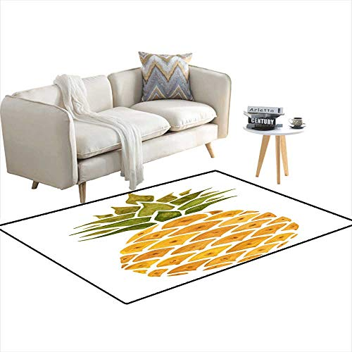 - Anti Skid Rugs Pineapple Watercolor Illustration 4'x9'