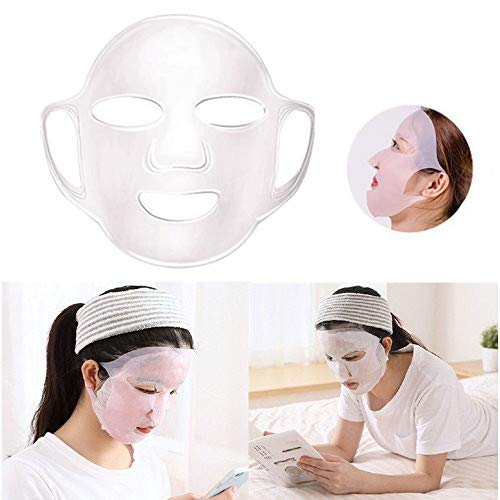 (Facial Mask Cover, Reusable Face Silicone patches, Anti-off Moisturizing Sheet Mask Cover (Transparent))