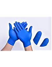 The Basic Nitrile Exam Gloves - Medical Grade, Powder Free, Latex Rubber Free, Disposable, Non Sterile, Food Safe, Textured, Blue Color, Convenient Dispenser Pack of 100 (L) Size L