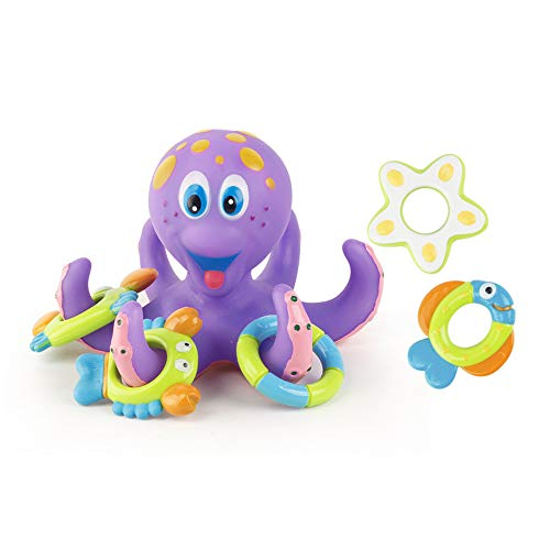 (OhradWord Bath Toy, Bath Swimming Octopus Toy for Baby Octopus, Swimming Tub Bathtub Pool (Includes 1 Octopus and 5 Rings to toss Around The Tentacles))