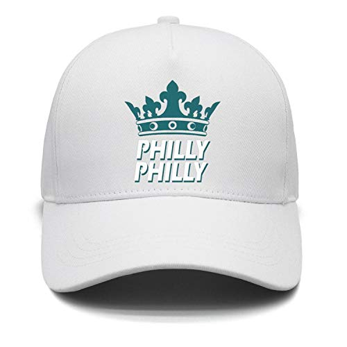 SSIZER Unisex White Baseball Hat for Mens Womens Philly-Philly-Philadelphia-Crown- Adjustable Caps ()