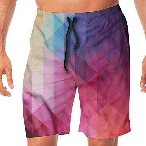 ScottDecor Quick-Dry Beach Board Shorts Abstract Triangle,Ombre Mosaic Form Swim Shorts Men M ()