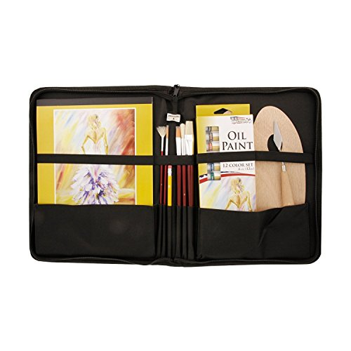 US Art Supply 23 Piece Oil Painting Set with Zippered Portfo