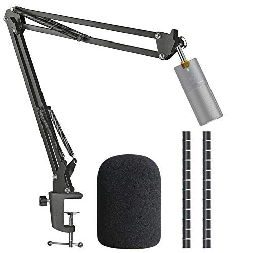 Seiren X Mic Boom Arm Stand with Pop Filter, Compatible with Razer Seiren X USB Microphone with Cable Sleeve by SUNMON