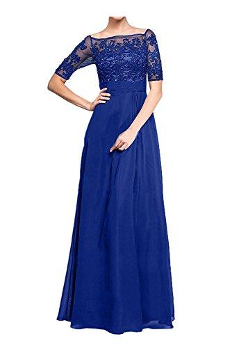 Marie Partykleider Damen Blau Langarm Linie La Spitze Abendkleider Brautmutterkleider Braut Royal A Abschlussballkleider v6UndBq