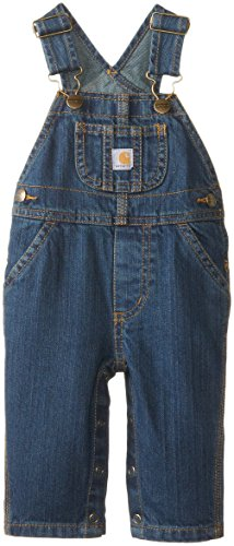 Carhartt Boys' Washed Denim Bib Overall, Worn In Blue, 18 Months