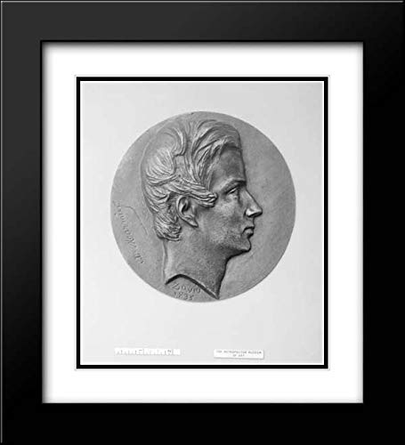 Pierre Jean David d'Angers - 20x22 Black Modern Frame and Double Matted Museum Art Print - Xavier Marmier (1809-1892), French Soldier, Traveler, Member of The Academy