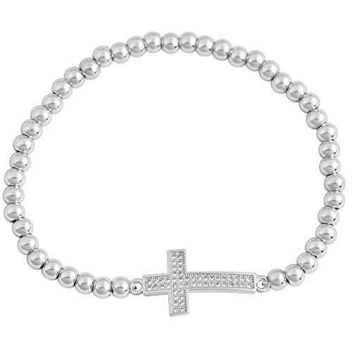 EDFORCE Womens Girls Stainless Steel Religious Cross CZ Stretch Bracelet Adjustable One Size Fits All (Steel) ()