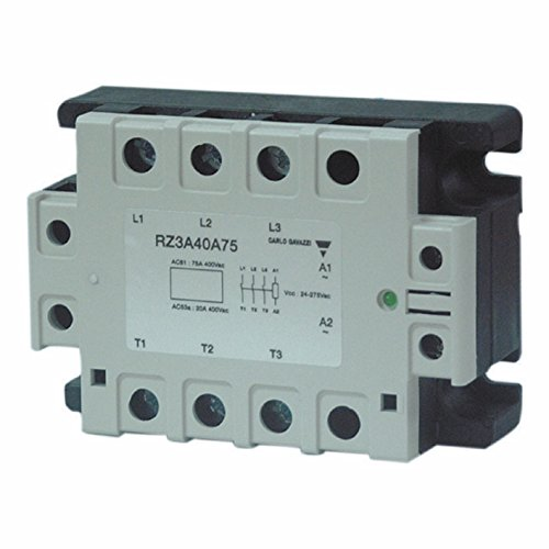 CARLO GAVAZZI RZ3A60A55 3-Phase Solid State Relay, Maximum 55 amp AC Switching, 24-275 VAC or 24-50 VDC Control Voltage, 42-660 VAC Switching, 1600Vp Blocking Voltage, IP10 Cover, Diagnostic LED, 12.9 oz. Size, 45 mm Height x 110 mm Width x 80 mm Diameter by CARLO GAVAZZI