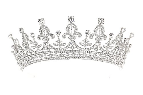 Royal Bridal Pageant Rhinestone Crystal Prom Wedding Tiara Crown T1062]()