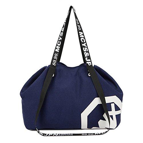 Large Drawstring Bag Womens Girls Shoulder Gym Bags High Capacity Canvas Handbag for Hiking Swimming Yoga Gym (blue) from 365DAYS