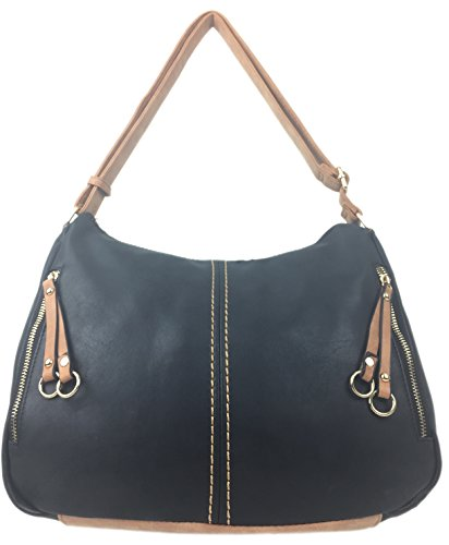 bag nu tote Women medium Designer Italian Black to for strap faux ladies ROMA with leather adjustable large buck styled handbags shoulder q4wvwXa